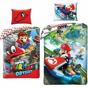 Kinderbettwäsche Super Mario 135/140x200 +Kissenbezug Grün Rot 100% Baumwolle