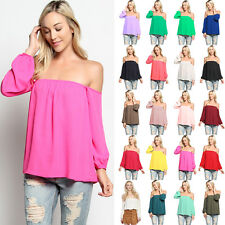 TheMogan Boho Off The Shoulder Chiffon Blouse Bishop Long Sleeve Flowy Top