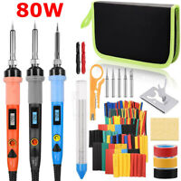 Soldering Iron Kit 80W LCD Welding Solder Station Wire 328pcs Heat Shrink Tubing