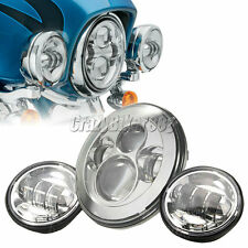 """7"""" LED Chrome Daymaker Headlight + Passing Lights Fit Harley Electra Glide Ultra"""