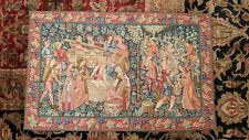 """Les Vendanges Grape Harvest Medieval Wall Tapestry Made in France 38"""" x 24"""""""