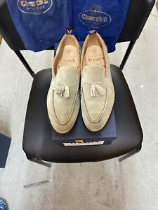 Trickers Chelsea Men's Suede Toggle Tassel Loafers Slip On Shoes Size 9.6