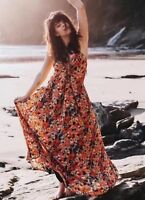 NEW Free People Long Orange Floral Mulberry Maxi Dress w/ Keyhole Size XS S M L
