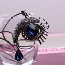 Rhinestones Tear Long Necklace Sweater Necklace Womens Magic Eye Shape Crystal &