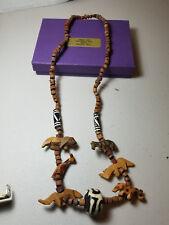 leopard zebra giraffe lion Vintage African Necklace handcarved elephant