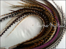 100 NATURAL LONG  WHITING GRIZZLY SADDLE FEATHER HAIR EXTENSION LOT1