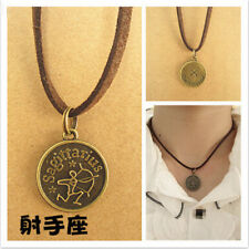 Sagittarius Pendant  Leather Choker Necklace Zodiac Sign Jewelry Birthday Gift