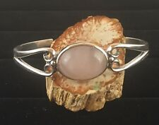 Solid Sterling Silver Cuff Bracelet with 18x13mm 10.5 Carat Rose Quartz Gemstone