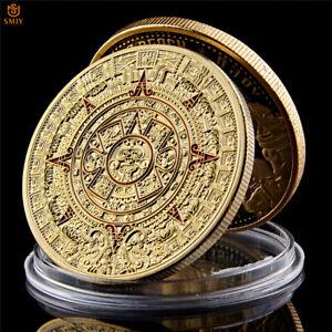 Mexican Maya Aztec Predict Calendar Gold Plated Colored Metal Commemorative Coin