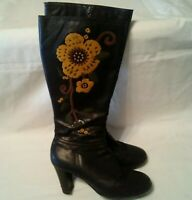 Aerosoles Boots Women's Sz 6.5 Rodical Brown Leather Heel Floral Embroidered