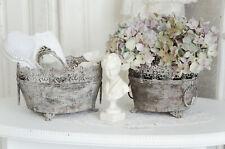Übertopf Blumentopf Metalltopf Shabby Chic Vintage Landhaus Brocante groß