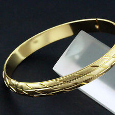 FS617 GENUINE REAL 18K YELLOW G/F GOLD SOLID DIAMOND CUT HINGED BANGLE BRACELET
