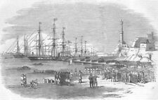 ITALY. boarding of Sardinian Contingent at Genoa, antique print, 1855