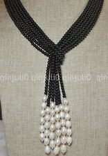 "50"" 3 Strands Natural 4mm Black Agate Freshwater Pearl Necklaces JN1579"