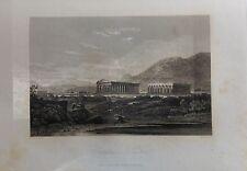 ITALIA. CAMPANIA, TEMPLES OF PAESTUM.GRABADO ORIGINAL DE HAKEWILL, 1820