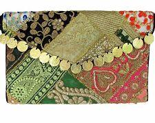 Vintage Gypsy Embroidered Coins Handbag Clutch Indian Handmade w/Strap US SELLER