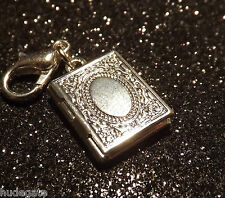 Silver Plated Mini Photo Locket Clip on Charm for Bracelets Valentines Gift