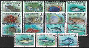 ASCENSION SG554/68 1991 FISH DEFINITIVE SET MNH