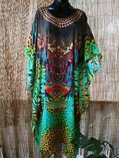 Plus Size Satin-Like Embellished Long Kaftan Dress One Size 16 to 24 Free Post