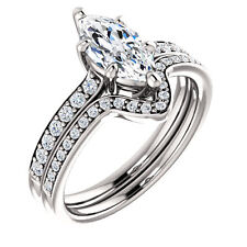 1.2 ct 1 ct Marquise cut Diamond Halo style Engagement 14k White Gold Ring H SI1