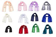 Las señoras aclaran Bufanda Rayas Mujer Largo Gasa Satén Brillante Moda Bufandas Wrap