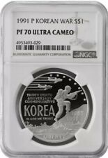 1991 P KOREAN War Silver Dollar NGC PF70 💥FLAWLESS QUALITY!💥🏆