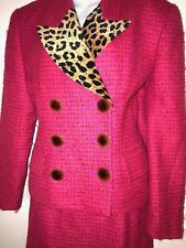 💕 Vintage Christian Dior Magenta Fantasy Tweed Double Breasted Super Power Suit