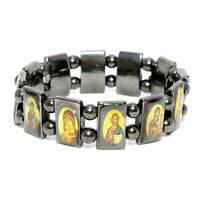 Christian Orthodox Bracelet from Black Hematite with Images of All Saints Israel