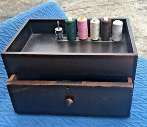 Vintage Timber Sewing Box with Lockable Drawer