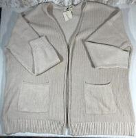 Universal Thread Women's Open Front Cardigan Sweater Size XXL Cream Nwt Cotton