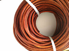 5Meters Light Brown Round Natural Cowhide Leather Cord Jewelry String Rope