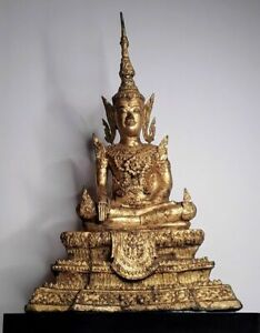 Large 18-19th c Thai Rattanakosin Gilt Seated Buddha