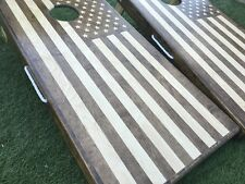 Stained American Flag Cornhole Board Sets