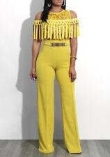 Womens Mustard Yellow Cold Shoulder Fringe Jumpsuit