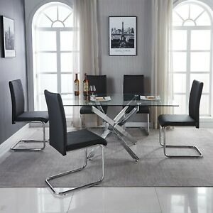LEONARDO Clear Chrome Glass Dining Table Set And 6 Leather Dining Chairs