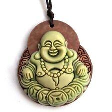 Tibet Buddhist Laughing Buddha Money Two Layer Natural Stone Amulet Pendant