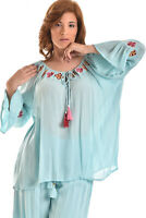 AZUCAR LADIES EMBROIDERED LONG SLEEVE OFF THE SHOULDER TUNIC TOP (S~XL) LRB679
