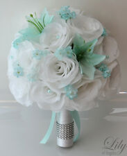 17pcs Wedding Bridal Bouquet Set Silk Flower Decoration Package Robin'S Egg Blue