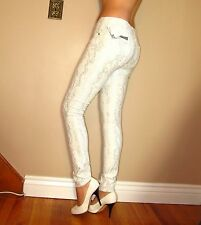 Seven 7 For All Mankind $198 Skinny Silver Snake Metallic Brocade White Jeans 27