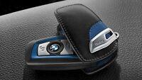 BMW NEW GENUINE 1 3 4 5 6 7 X4 KEY FOB CASE LEATHER BLUE/BLACK PROTECTOR 2219915