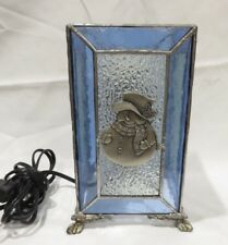 Blue Stained Glass Snowman Christmas Footed Light