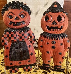 2 RARE Vintage Halloween Old Diecut Decorations, Maid & Clown, Germany, 1920s!