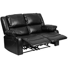 Flash Furniture Harmony Series Black Leather Loveseat W/ Two Built In Recliners