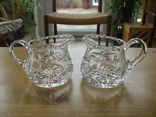"""Pair of Qualtiy Crystal Fan & Criss Cross Cut 250ml Jugs - 3 1/4""""(8.25cms)"""