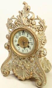 BEAUTIFUL ANTIQUE CAST IRON WATERBURY FIGURAL MANTEL SHELF CLOCK