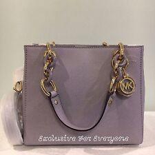 NWT Michael Kors Cynthia Small Leather Lilac Gold Satchel Tote Bag $298