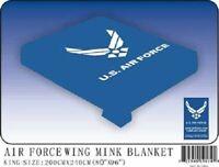 "Throw Blanket Air Force Wings Flag King/Queen Mink (80"" x 96"")"