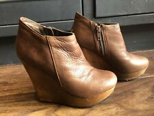 Buffalo Brown Leather Wedge Ankle Boots Uk3 EU36