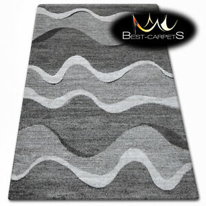 Thick Quality 20mm Modern Design Densely Soft Rugs SHADOW 8649 black grey