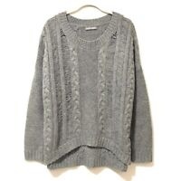 Women's Open Stitch Cable Sweater Cashmere Wool Blend Pullover NWOT